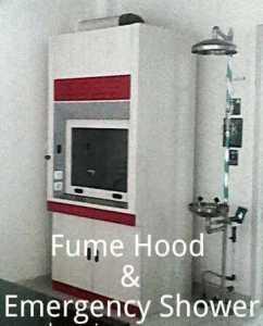 fume hood & emergency shower fully stainless steel